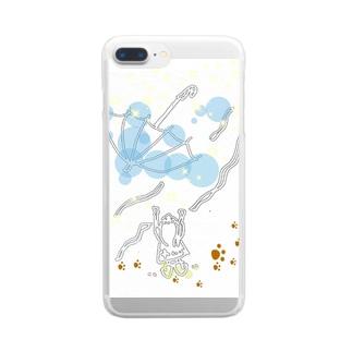 とばされた傘 Clear smartphone cases