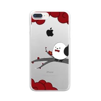 花札「梅とナガオくん」白 Clear smartphone cases