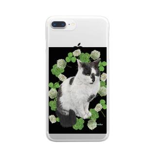 クローバーと野良猫スージー クリアスマートフォンケース