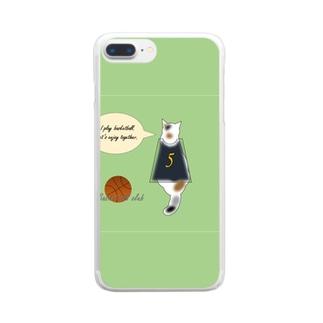 バスケ部 三毛猫 Clear smartphone cases