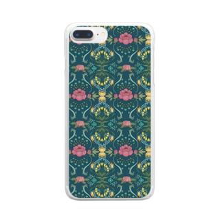 植物のパターンデザイン Clear smartphone cases