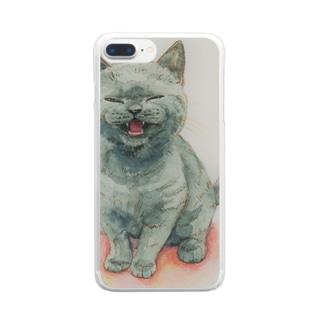 サイレントにゃ~ Clear smartphone cases