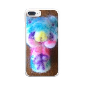 やさしいオオカミさん羊毛フェルトマスコット Clear smartphone cases