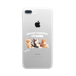 I ♥ dogs 柴犬 シベリアンハスキー ブルドッグの 仲良しトリオ(白文字Ver.) クリアスマートフォンケース