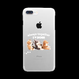 Handmade by CaranfeeのI ♥ dogs 柴犬 シベリアンハスキー ブルドッグの 仲良しトリオ(白文字Ver.) Clear smartphone cases