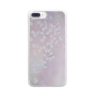 「今・盛りなり」 手染め ろうけつ染め桜 花びら Clear smartphone cases