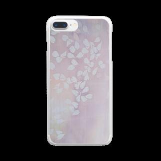 art-healing-awazuの「今・盛りなり」 手染め ろうけつ染め桜 花びら Clear smartphone cases