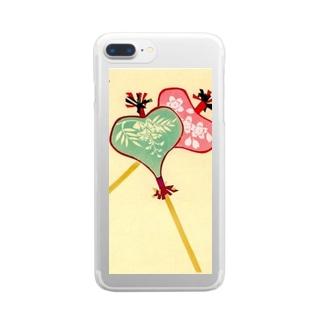 art-healing-awazuの唐招提寺 うちわまき 縁起ものデザイン Clear smartphone cases