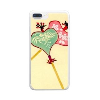 唐招提寺 うちわまき 縁起ものデザイン Clear smartphone cases