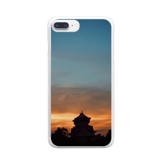夕暮れ小倉城 Clear smartphone cases