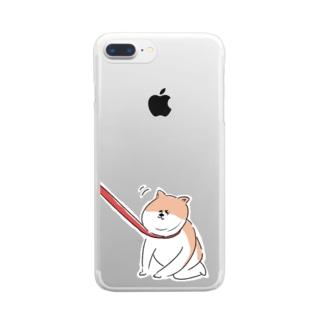 散歩イヤイヤワンちゃん Clear smartphone cases