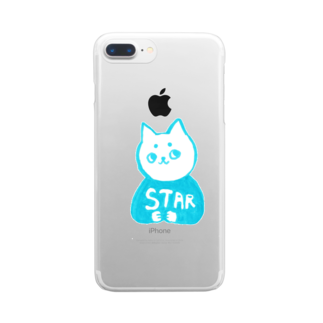 vagの麻呂眉川さん「STAR」 Clear smartphone cases