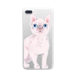 ピンク猫 Clear smartphone cases