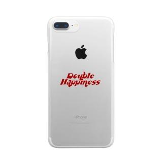 バブリーハピネス 赤 Clear smartphone cases