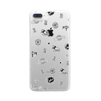 プロレスパターン(モノクロ) Clear smartphone cases