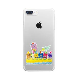 グシャグシャの仲間たち Clear smartphone cases