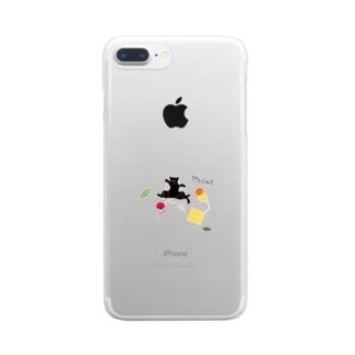 猫ごっこ-毛糸 Clear smartphone cases