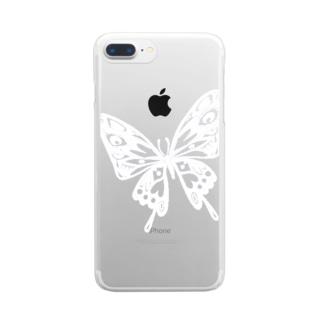 極楽蝶(白) Clear smartphone cases