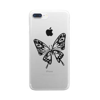 極楽蝶(黒) Clear smartphone cases