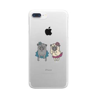おなかぽよんアイドルパグちゃん☆ Clear smartphone cases
