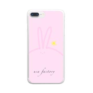 うさ ピンク クリアスマートフォンケース