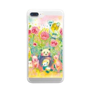 野の花と動物 Clear smartphone cases