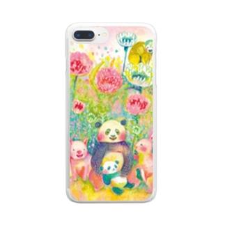 野の花と動物 クリアスマートフォンケース
