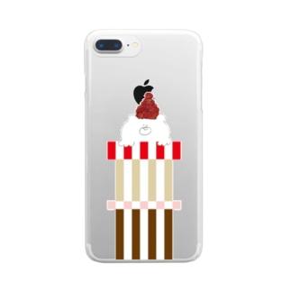 赤帽子の北国クマさん Clear smartphone cases