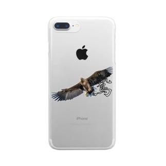 大空を羽ばたく鷲! Clear smartphone cases