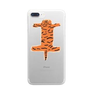 虎の敷物 クリアスマートフォンケース