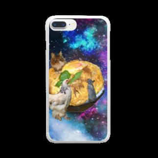 mnto雑貨洋品店のspace catとなかまたち Clear smartphone cases