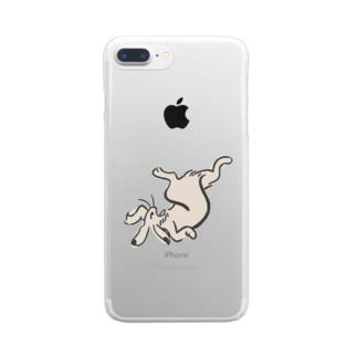 鳥獣ウサギ画 Clear smartphone cases