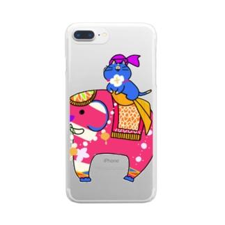 インド象とニャンマー Clear smartphone cases