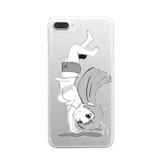 20180519逆立ち Clear smartphone cases