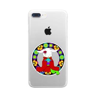 うさぎと手毬 Clear smartphone cases