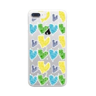 青と黄色と緑のハートグッズ好きな人のためのグッズ。 Clear smartphone cases
