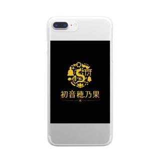 初音穂乃果のロゴ(黒ver) Clear smartphone cases