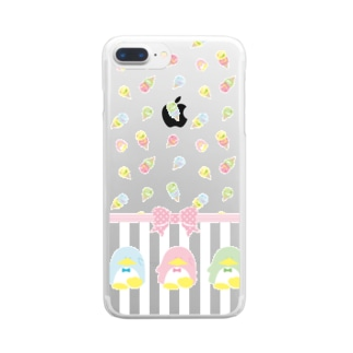 ペンギンアイスクリーム柄 Clear smartphone cases