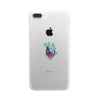 果物ドレスの魚(青色) Clear smartphone cases