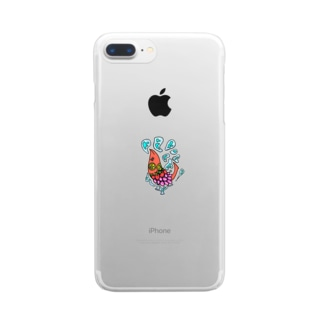 果物ドレスの魚(赤色) Clear smartphone cases