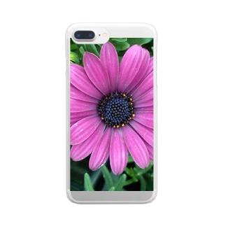 パープルフラワー Clear smartphone cases