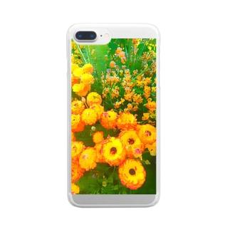 オレンジの花 Clear smartphone cases