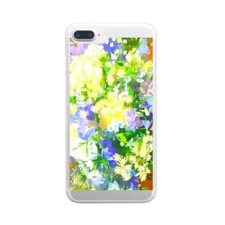 青いブーケ Clear smartphone cases