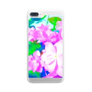 ピンクの紫陽花 Clear smartphone cases