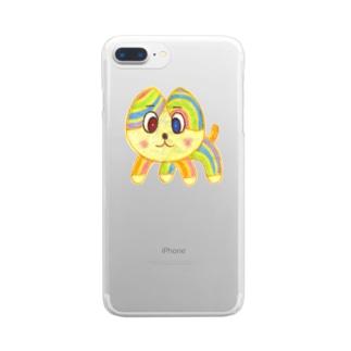 SZK GALLERYのレインボーキャット Clear smartphone cases