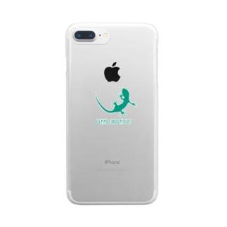ヤモリ シルエット ロゴ  ( ターコイズグリーン ) Clear Smartphone Case