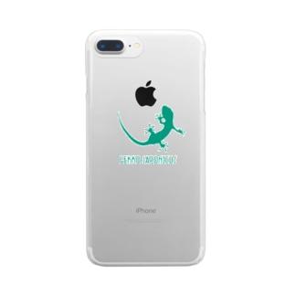 ヤモリ シルエット ロゴ  ( ターコイズグリーン ) Clear smartphone cases