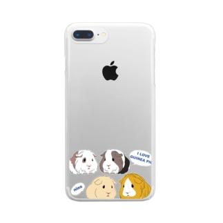 4匹のモルモット・I LOVE GUINEA PIG Clear smartphone cases