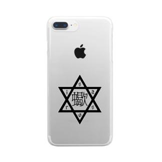 六芒星蠍 BLACK 中華風 Clear smartphone cases