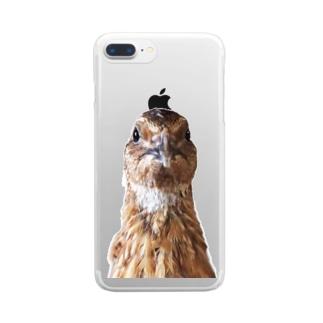 ガン見ウズラ Clear smartphone cases